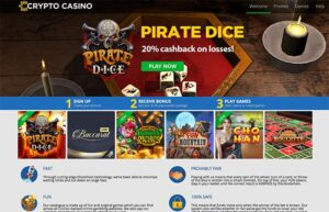 Crytpo casino 20% cashback offer