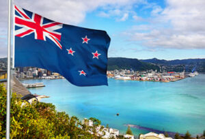 New Zealand Flag & Views over Wellington, the Kiwi capital